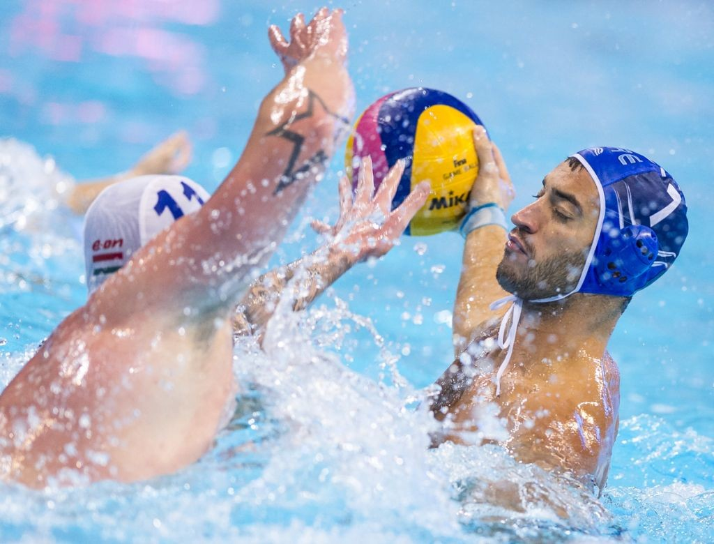 LEN European Water Polo Championships 2016 Hungary HUN (White) Vs Greece GRE (Blue) Men 7 AFROUDAKIS Christos C GRE Kombank Arena, Belgrade, Serbia Day02 11-01-2016 Photo P. Mesiano/Insidefoto/Deepbluemedia