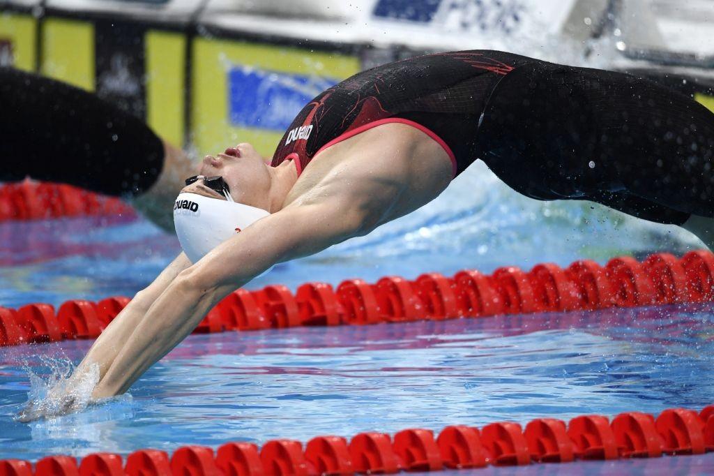 Budapest, 2017. július 24. Hosszú Katinka rajtol a nõi 100 méteres hátúszás elõfutamában a 17. vizes világbajnokságon a Duna Arénában 2017. július 24-én. MTI Fotó: Illyés Tibor