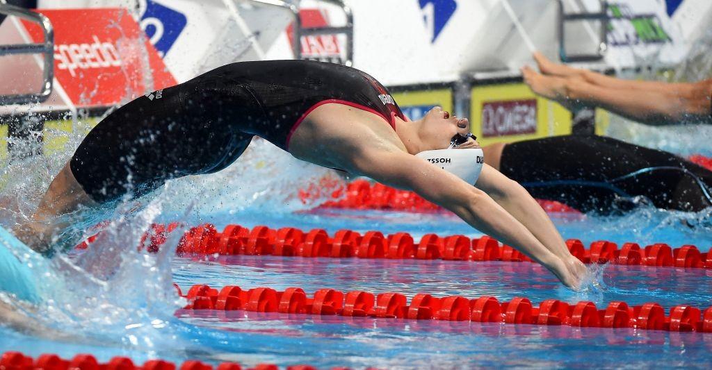 Budapest, 2018. október 5. A késõbbi harmadik helyezett Hosszú Katinka a 100 méteres hátúszás döntõjében az úszó világkupa-sorozat budapesti versenyén a Duna Arénában 2018. október 5-én. MTI Fotó: Czagány Balázs